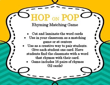 Hop on Pop | Rhyming Matching Game