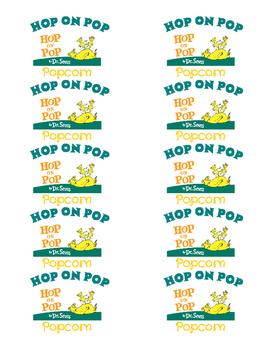 Hop On Pop Popcorn Labels By Cotton Picking Pretty Teacher Tpt