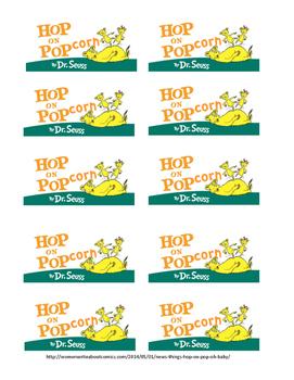 Hop on Popcorn labels for snack bags