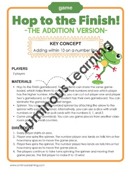 Hop to the Finish: The Addition Game