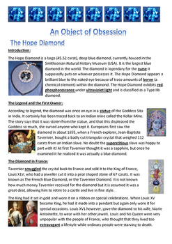 Hope Diamond - An Object of Obsession - Information Report - Reading