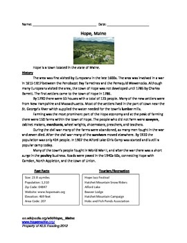 Hope Maine - Full History Facts Information - Review Questions Vocabulary