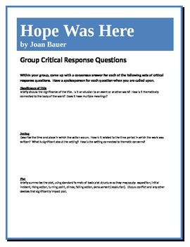Hope Was Here - Bauer - Group Critical Response Questions