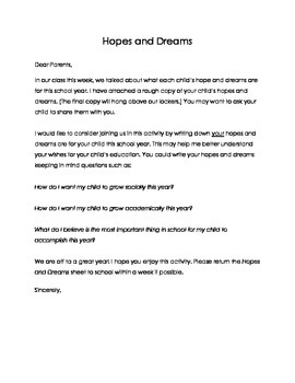 Hope and Dreams - Letter home to Parents