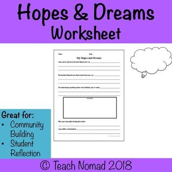 Hope and Dreams Worksheet (First 6 weeks of school)
