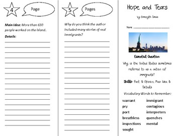 Hope and Tears Trifold - Open Court 4th Grade Unit 3 Lesson 4