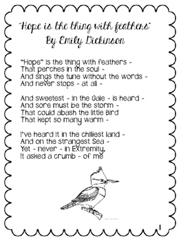 emily dickinson poem hope is the thing with feathers analysis