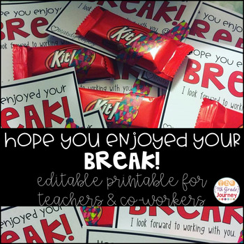 Hope you enjoyed your break! Editable Printable for  teachers or co-workers