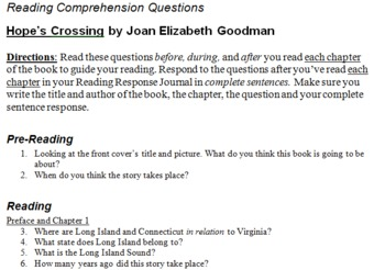 Hope's Crossing Reading Comprehension Questions
