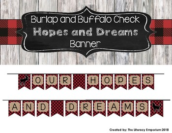 Hopes and Dreams Banner (Burlap and Buffalo Check)