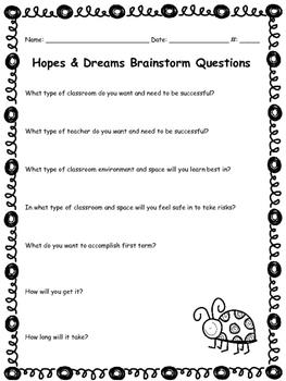 Hopes and Dreams Brainstorm Questions
