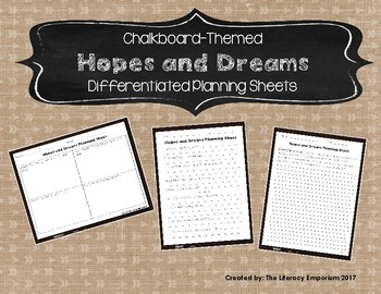 Hopes and Dreams Differentiated Planning Sheets (Chalkboard Theme)