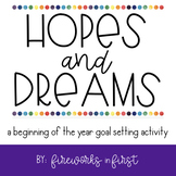 Hopes and Dreams - Goal Setting Activity & Display