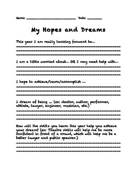 Hopes and Dreams Handout