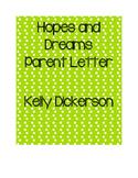 Hopes and Dreams Parent Letter