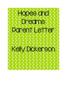 Hopes and Dreams Parent Letter