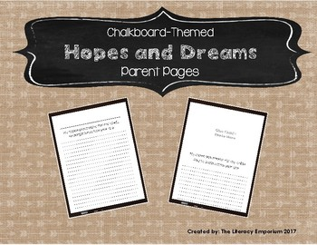 Hopes and Dreams Parent Pages (Chalkboard-Themed)