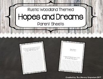 Hopes and Dreams Parent Pages (Rustic Woodland Theme)