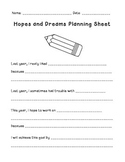 Hopes and Dreams Planning Sheet