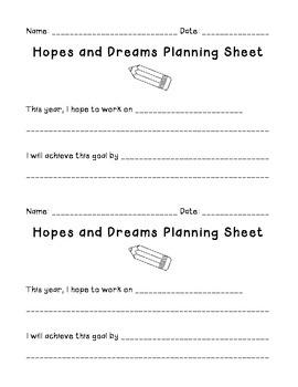 Hopes and Dreams Planning Sheet