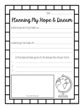 Hopes and Dreams Planning Sheet: A Resource Inspired by Responsive Classroom
