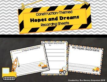 Hopes and Dreams Recording Sheets (Construction Theme)