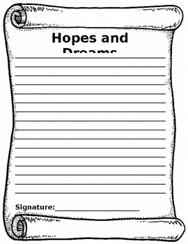 Hopes and Dreams Writing Template