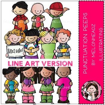 Melonheadz: Punctuation Peeps clip art - LINE ART