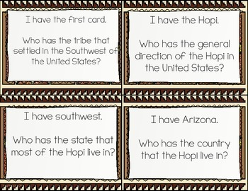 Hopi Native Americans I Have, Who Has? Whole Group Hook