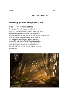 Hopkin's Pied Beauty - close reading poetry assignment - journal entry subjects