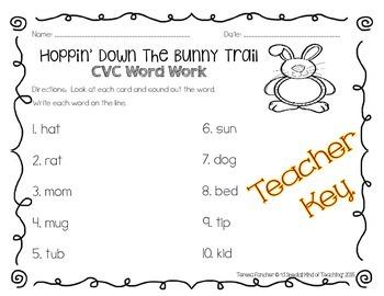 Hoppin' Down the Bunny Trail~ CVC Word Work {Cards, Letter Tiles, &Worksheet}