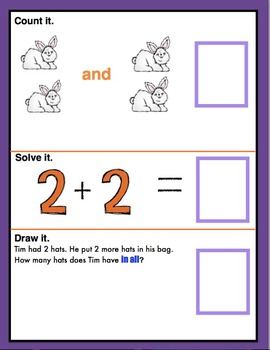 Hoppin Into Addition! Count, Solve, Draw, & Write. All In One! CCSS