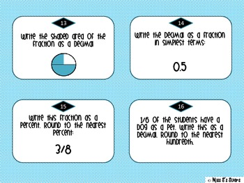 Percents, Fractions, and Decimals Task Cards