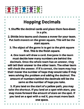 Hopping Decimals -- Fifth Grade Game Practice