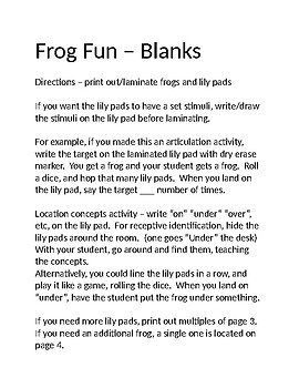 Hopping Frog Fun - speech - articulation, turn-taking, location concepts, math