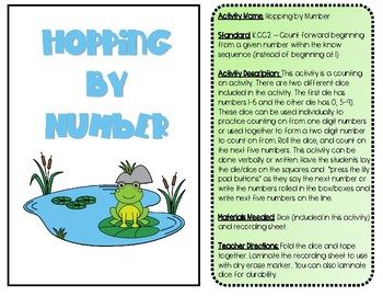 Hopping Through Numbers K.CC.2 Kindergarten Common Core Counting Dice Station