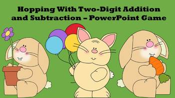 Hopping With Two Digit Addition and Subtraction - PowerPoint Game