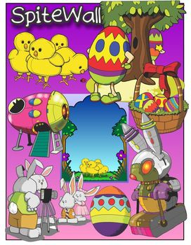 Hopping into Spring Vacation Clip Art for Easter Themed Activities