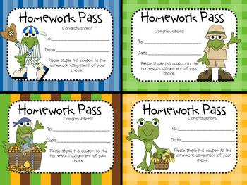 """Hoppy"" About No Homework! (Frog Theme Homework Passes)"