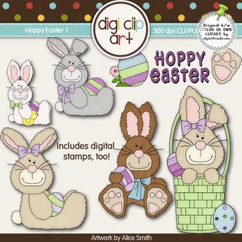 Hoppy Easter 1-  Digi Clip Art/Digital Stamps - CU Clip Art