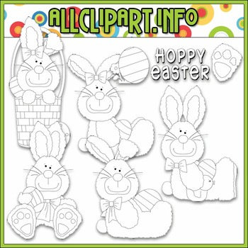 BUNDLED SET - Hoppy Easter Bunnies Clip Art & Digital Stamp Bundle - Alice Smith