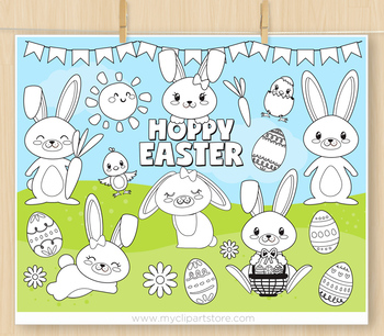 Hoppy Easter Clipart, Easter Bunnies - BLACKLINE - color me, with outlines