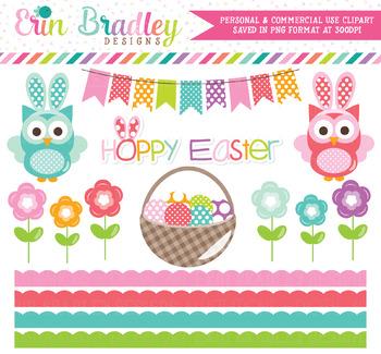 Hoppy Easter Owls Clipart
