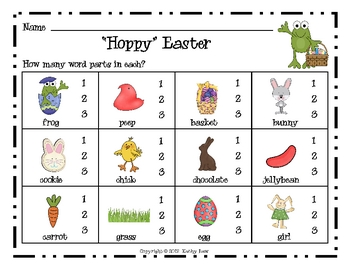 """Hoppy"" Easter--Syllables Game"