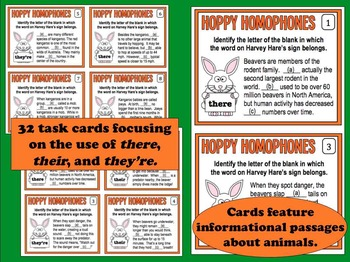 Hoppy Homophones – Their, There, and They're task card and printables set