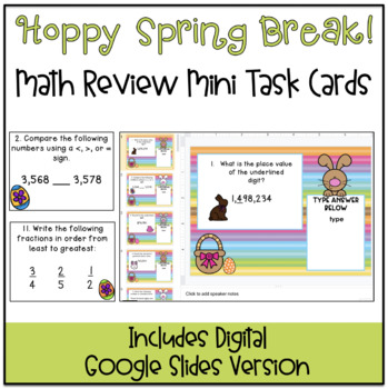 Hoppy Spring Break! Math Review Task Cards