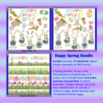 Spring Bunny Clipart Set