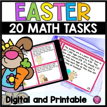 Easter Math Word Problem Tasks and Scoot Game Set for Second and Third Grade