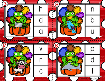 Hoppy Thanksgiving Beginning Sounds Clip Cards Kindergarten Phonics