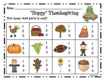 """Hoppy"" Thanksgiving Game--Syllables"